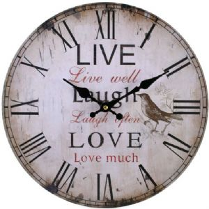 Live Love Laugh 31723 - Large Rustic Retro Kitchen Wall Clock 34cm